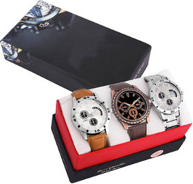 The Shopoholic Analogue Black Dial Men's & Boy's Watch Leather Strap Combo Pack of 3