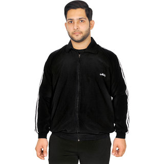Meddy Sports Track Jacket for Men in Black - Solid Pattern, Collar Jacket, Full Sleeves, with Chain