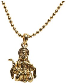 Handmade Lord Hnuman Gold Plated Alloy religious Pendant made with Original Plating Pendant with Gold Plated Chain Necklace for Women and Men Gold-plated Alloy Pendant