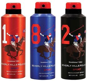 Beverly Hills Polo Club Sport Deodorant Spray No 1,8,2 (Pack of 3) For Men