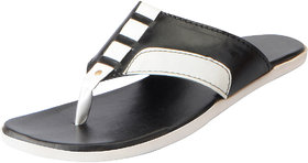 Fausto Men's Black White House and Daily Wear Slippers