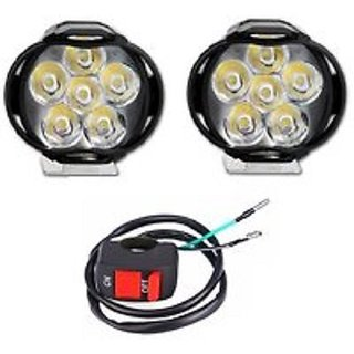6 LED Motorcycle Bike LED Headlight Driving Fog Spot Light Lamp 2pcs with On Off Switch