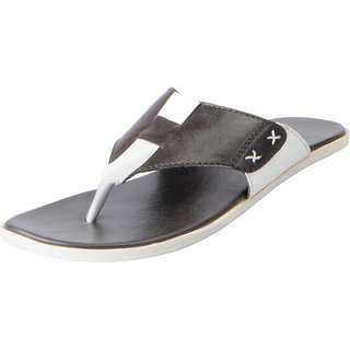 Fausto Men's Brown White House and Daily Wear Slippers