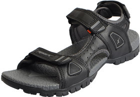 Sparx Men's Black Grey Outdoor Athletic and Sports Sandals