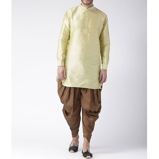 Klick2Style Men Solid Golden Brown Kurta Harem Set