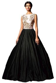 Florence Women's Black Silk Embroidered Gown