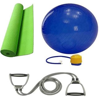 VK YOGA COMBO KIT 01( GYM BALL + DOUBLE TONING TUBE  YOGA MAT )HOME GYM COMBO Home Gym Combo