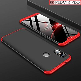 Redmi 6 Pro Front Back Case Cover Original Full Body 3 in1 Slim Fit Complete 3D 360 Degree Protection Black Red