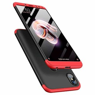 RedMi A2 Front Back Case Cover Original Full Body 3 in 1 Slim Fit Complete 3D 360 Degree Protection Hybrid Black Red