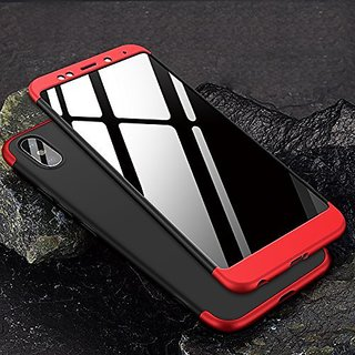 Redmi Y2 Front Back Case Cover Original Full Body 3 in 1 Slim Fit Complete 3D 360 Degree Protection  Black Red
