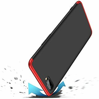 OPPO A3S Front Back Case Cover Original Full Body 3 in 1 Slim Fit Complete  360 Degree Protection Black Red