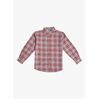Mint & Cotton Red color 100% Cotton Comfort Fit Shirt for boys