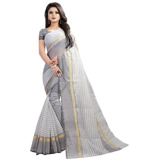 Pari Designerr White Colour Poly Cotton Saree With Blouse(PARIWHITE)