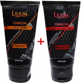 Lilium Herbal Charcoal Detox Massage Cream  Face Wash (Buy 1 Get 1 Free)