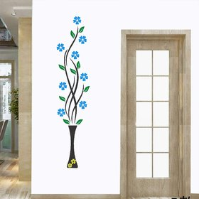 Asmi Collections PVC Wall Stickers Beautiful Vase and Blue Flowers