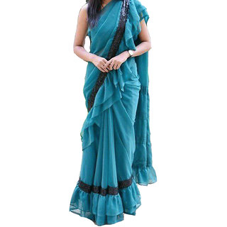 BHUWAL FASHION DESIGNER RUFFEL GEORGETTE SAREE-BF5200
