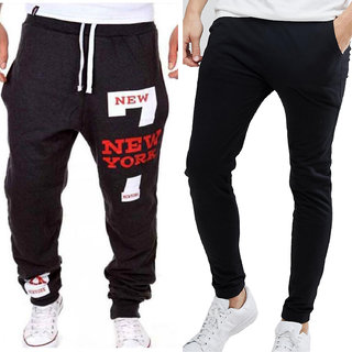 Pack Of Two Black Cotton Blend Trackpants