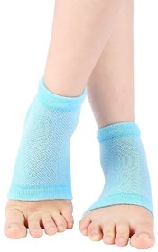 CuraFoot Unisex Silicone Gel Heel Socks with Spa Botanical Gel Pad - 2 Count Free Size, Blue