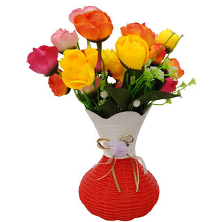 Plastic pot with Artificial Flower