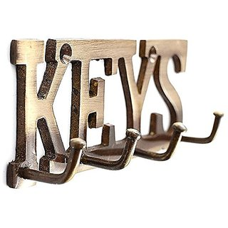 Kratidecor Designer Key Letter Shaped Brass Key Holder