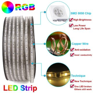 GLOWTRONIX LED Lighting LED Strip Light Flexible 32.8ft(10m) SMD 5050 60LEDs/M Rope Lighting for Home, Kitchen,Garden, Christmas, Bar Decoration
