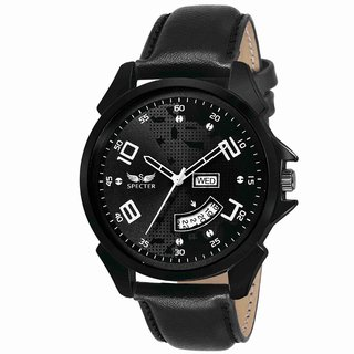 Specter black dial with black strap Day and Date wrist Watch for boysmen (DDS 6)
