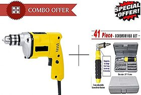 Shopper52 10mm Powerful Electric Drill Machine With 41 Pcs Tool Kit Screwdriver Set - DRL41PC