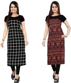 Blancora Women's Self Design Checks Black And Multicolor Crepe Straight Kurti (72_79)