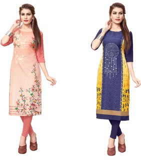 Blancora Women's Digital Printed 3/4th Sleeve Peach and Blue Crepe Stitched Kurti (98_102)