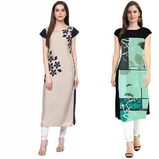 Blancora Women's Short Sleeve Digital Printed Straight Cut Beige and Green Crepe Kurti (Pack of 2)
