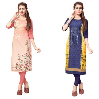 Blancora Women's Digital Printed 3/4th Sleeve Peach and Blue Crepe Straight Kurti (98_102)