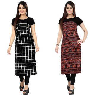 Blancora Women's Self Design Checks Black And Multicolor Crepe Straight Kurti (72_79)