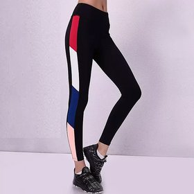 Side Red White Blue  and Skin Color Block Stretchable Leggings / Gym Wear /Yoga Wear /Running Wear