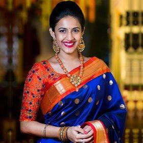 SVB SAREE Royal Blue Colour Khadi silk saree with Blouse Piece