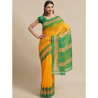 SVB Saree Yellow And Green Art Silk Printed Saree