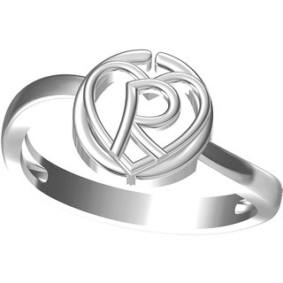 intial letter R rhodiuam plated ring for unisex