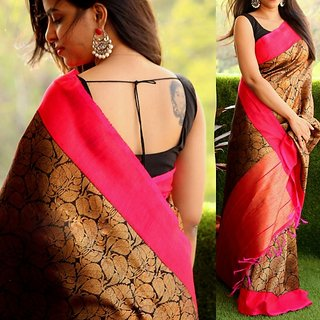 SVB Saree Embellished Multicolour Art Silk Saree With Blouse Piece