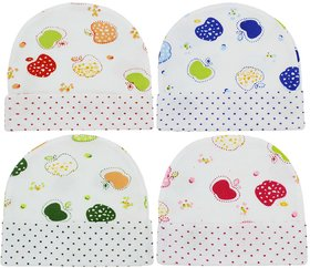 Neska Moda Baby Boys And Girls Multicolor Cap For 0 To 18 Month Pack Of 4 KC12