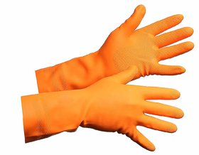 Green Home FERRA Multipurpose Non-Slip Rubber Reusable Gardening Dishwashing Scrubbing Cleaning Gloves, Orange 1 pair