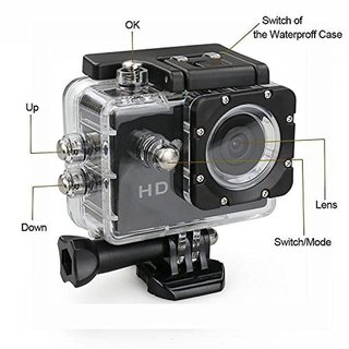 Lionix Sport action camera 1080p Full HD, support 32GB SD card, 170 Wide Angle with Waterproof Cases G Sensor (Black)