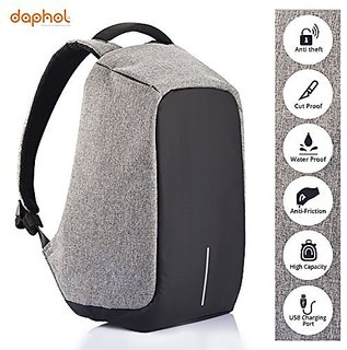 Anti Theft Laptop Backpack Bag for Men with USB Charging Port  Anti-Theft Water Resistant Travel Backpack Suitable For Laptop Camera College Bag - Grey