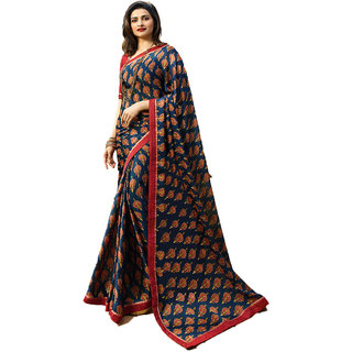 Indian Style Sarees New Arrivals Women's Blue Georgette Printed Party Saree With Blouse Bollywood Latest Designer Saree