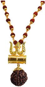 Sujal Fashion  Loard Shiv Trishul Damru Gold Color Locket With Puchmukhi Rudraksha Mala Pendant Necklace