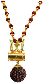 Sullery Religious Jewelry Lord Shiv's Trishul With Damaru & Rudraksha Mala Pendant Necklace