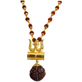 Sujal Fashion  Loard Shiv Trishul Damru Gold Color Locket With Puchmukhi Rudraksha Mala Pendant Necklace