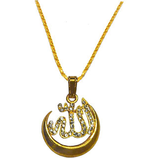 Sullery Religious Jewelry Cubic Zirconium Moon Allah Pendant Necklace