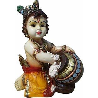 Kartik Lord Krishna Makhan Chor Kanha Idol Decorative Showpiece - 16 cm (Polyresin, Multicolor)