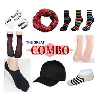 12 In 1 Combo Offers Loafer instockings Ankle Socks Bandana And Cap