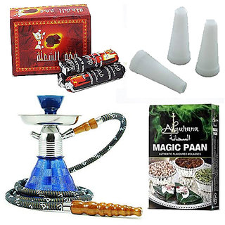 SEGGO Petite 9.5inch Glass Hookah with Magic Hookah Charcoal and 50Pcs White Mini Plastic Hookah Mouth Tip  Alsuhana Magic Paan Hookah Flavour (Combo Pack of 4)