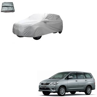 Auto Addict Silver Matty Body Cover with Buckle Belt For Toyota Innova